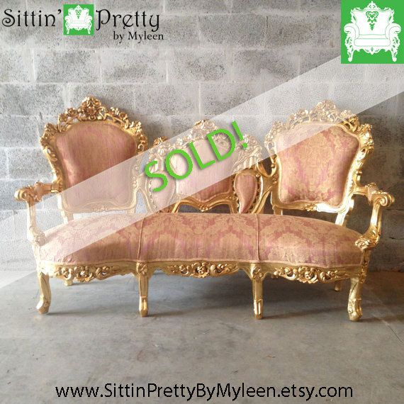Groovy Sold Gold Pink Settee Antique Italian By Machost Co Dining Chair Design Ideas Machostcouk