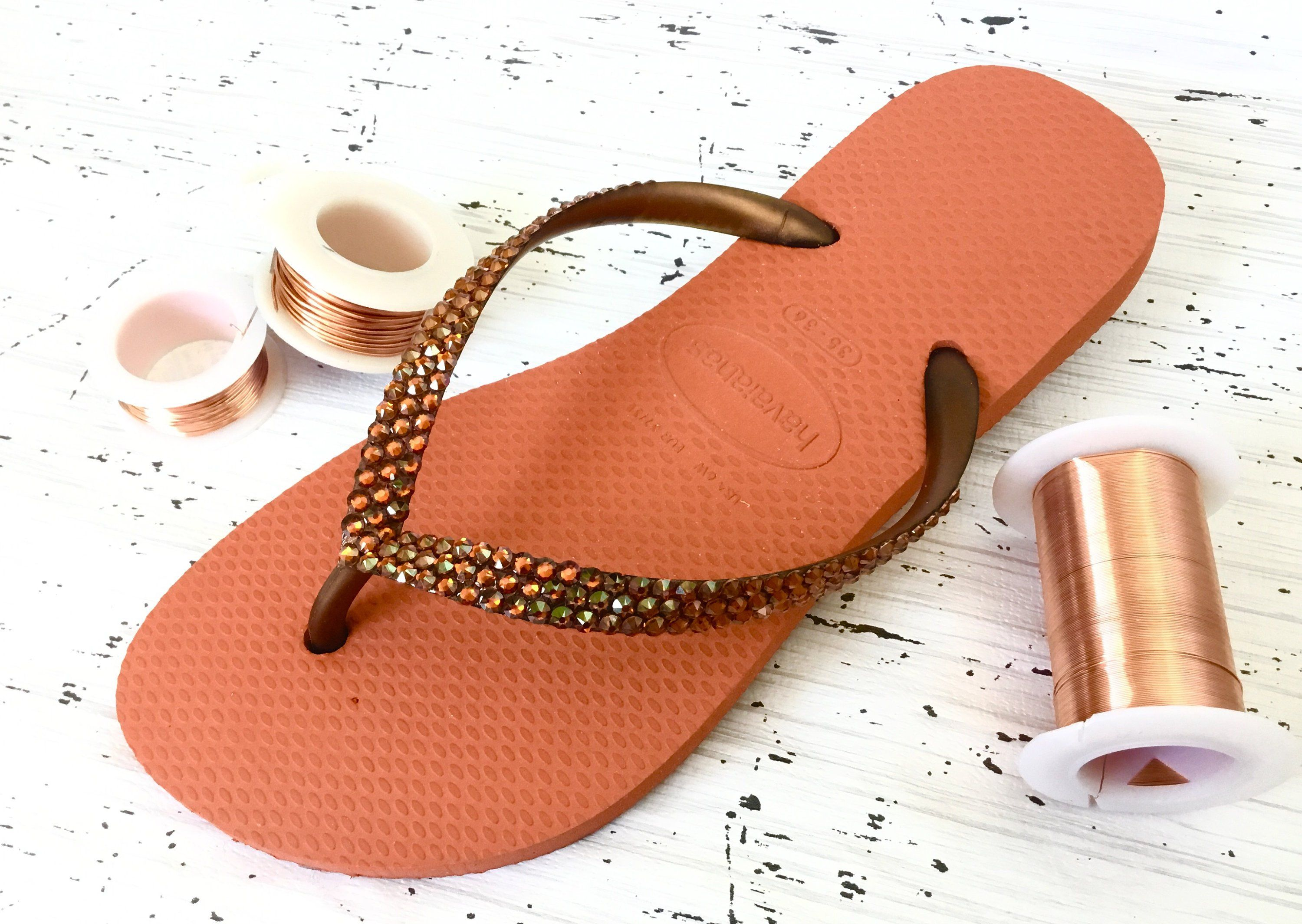 719a6f07d Burnt Orange Flip Flops Havaianas Slim Coral Copper w  Swarovski Crystal  Metallic Wedding Bling Rhinestone Red Custom Beach Sandal Shoe