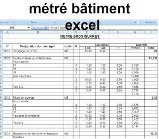 Feuille excel pour m tr b timent a en 2019 cours g nie civil calcul mur de soutenement et - Prix des gros oeuvres maison ...