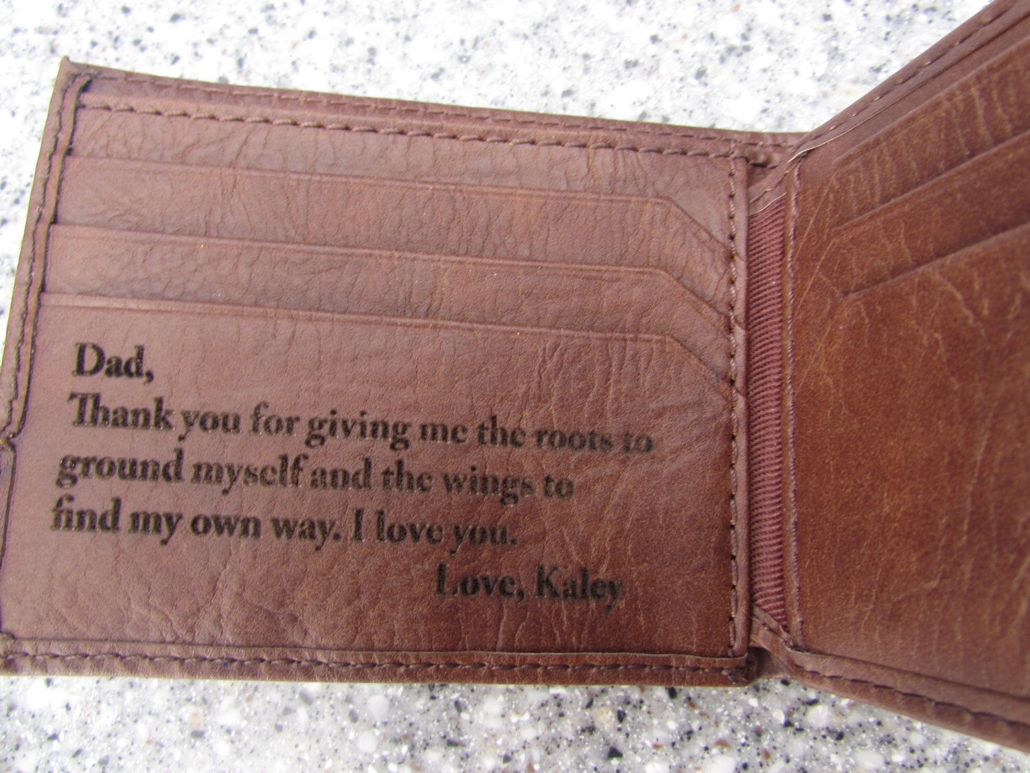 Your Handwriting Engaved On Wallet Personalized Wallet Leather