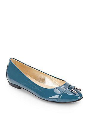 7e191875adc Tod s Ballerina Patent Leather Tassel Flats - Ocean - Size 6 ...