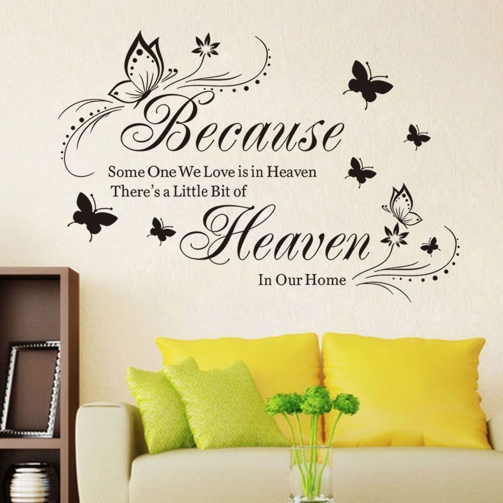 Witkey Because Someone We Love Is in Heaven Quotes Wall Stickers Decal Room DIY $6 4