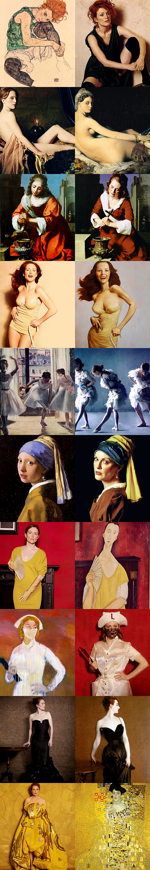 """Julianne Moore as """"Famous Works of Art"""" by Peter Linderbergh for Harper's Bazaar (Seated Woman With Bent Knee by Egon Schiele, La Grande Odalisque by Ingres, Saint Praxidis by Vermeer, The Cripple by John Currin, Les danseuses by Edgar Degas, Madame X by John Singer, Girl with a Pearl Earring by Vermeer, Woman With a Fan by Modigliani, Man Crazy Nurse #3 by Richard Prince, Adele Bloch Bauer I by Gustav Klimt)"""