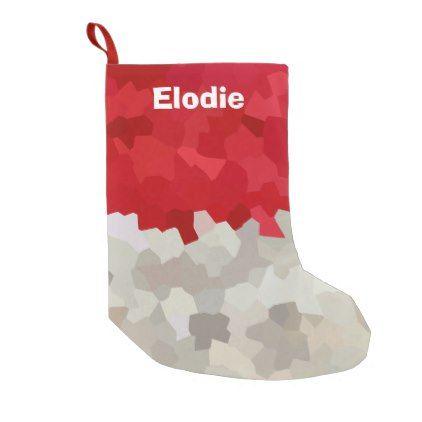 holiday red and white santa mosaic abstract small christmas stocking xmas christmaseve christmas eve christmas
