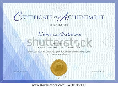 certificate of achievement template with blue theme background thai line and gold wax seal - Certificate Of Accomplishment Template