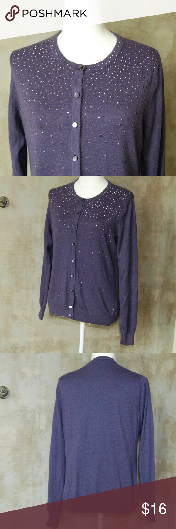 Merona purple cardigan sweater with rhinestones A soft purple ...