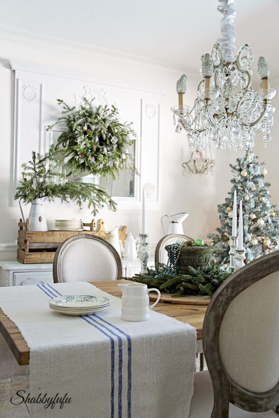 French Country Rustic Elegant Christmas Dining Room From Shabbyfufu Come See How To Diy Decorate With A Twist