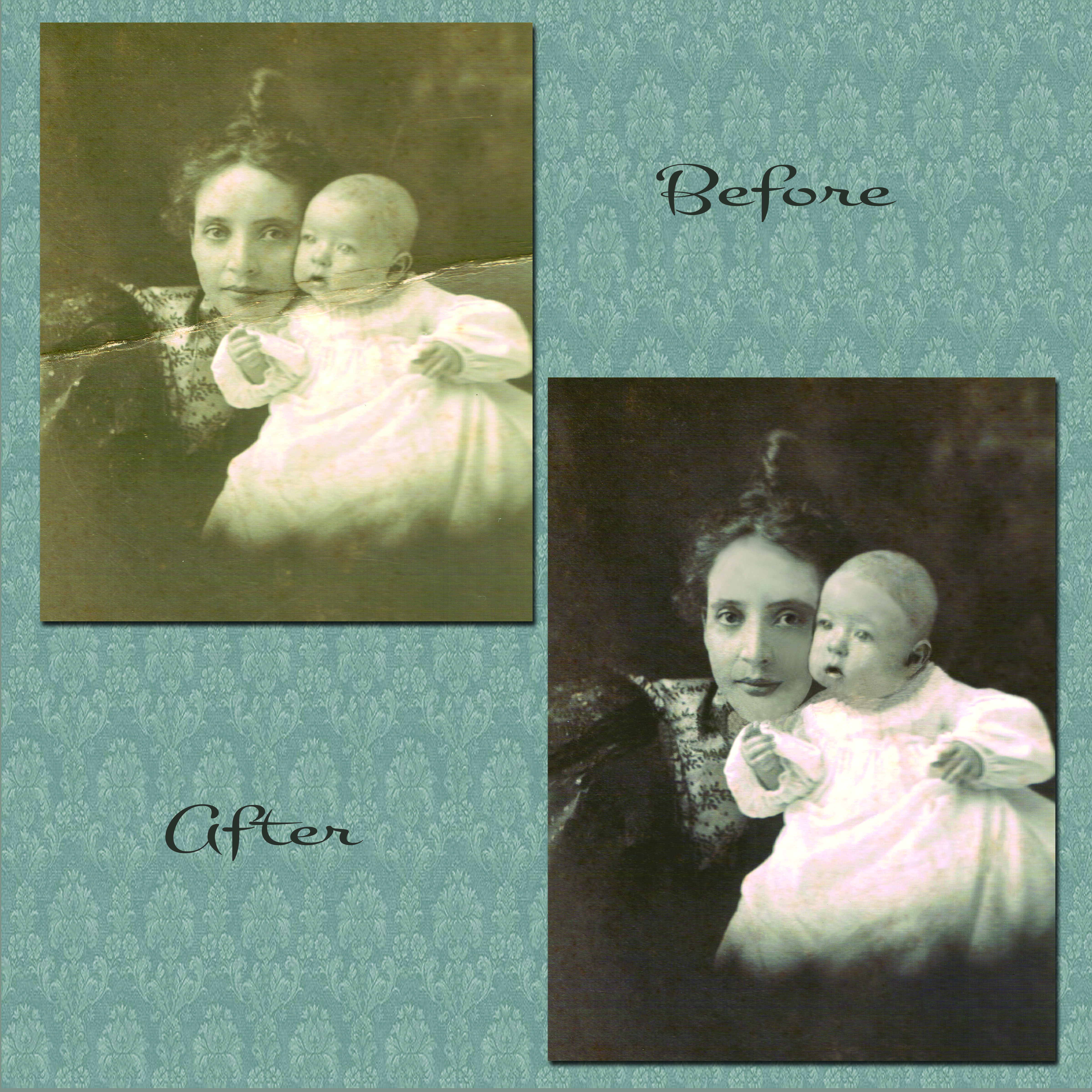 A before and after photo restoration. Done by Dreamcatcher Design Studio