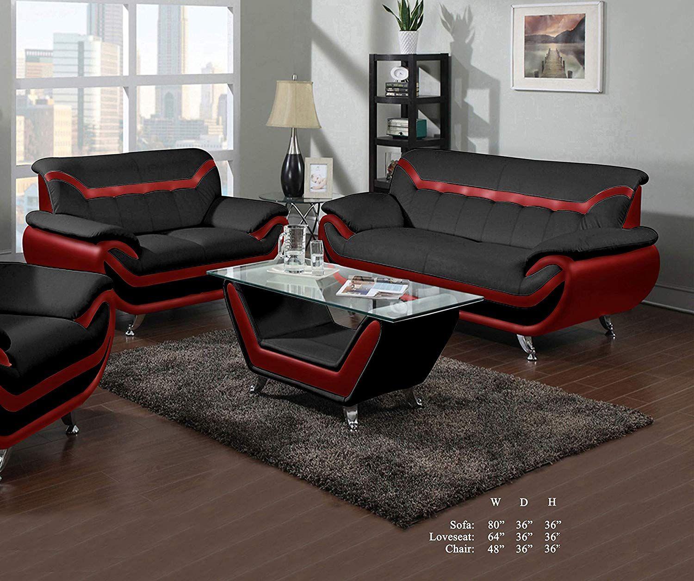 Beautiful Elegant Comfort Classic Red Black Bonded Leather Sofa Loveseat 2pc Sofa Set Livi Leather Sofa And Loveseat Neutral Living Room Beautiful Living Rooms