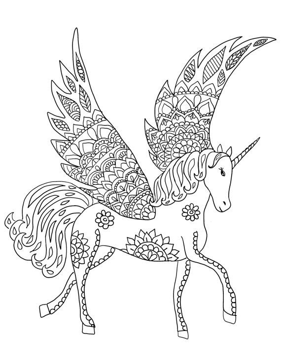 Kleurplaten Mandala Unicorn.Downloadable Unicorn Coloring Page Adult Coloring Page Download