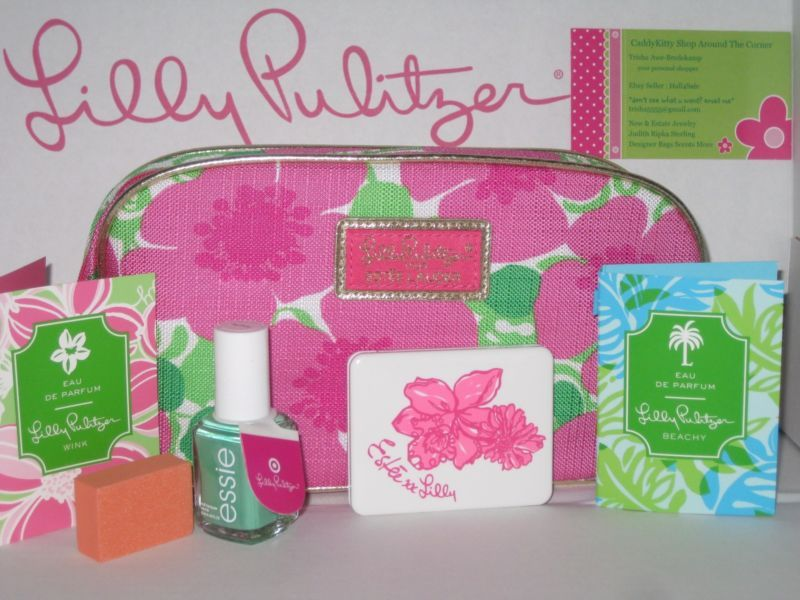 LILLY PULITZER / ESTEE LAUDER LOT, BAG, EYE SHADOW QUAD,PERFUME, POLISH NEW