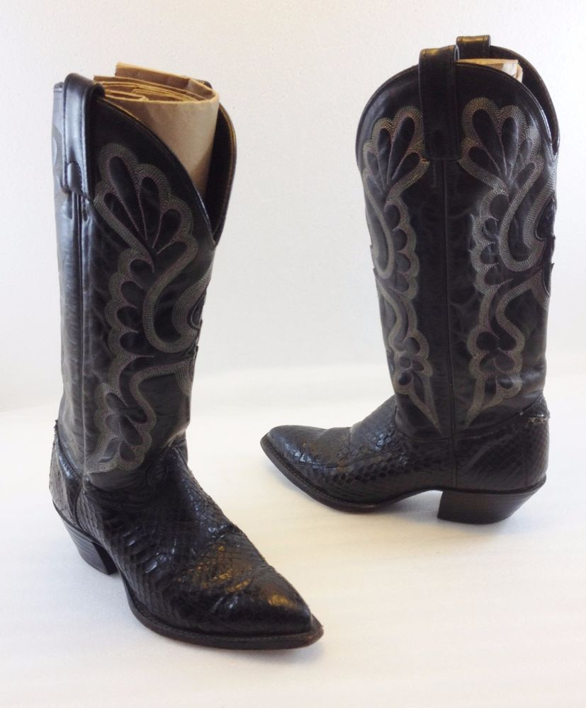 4d723a786a9 J. Chisholm Black Leather Snakeskin Cowboy Western Boots Womens 6M ...