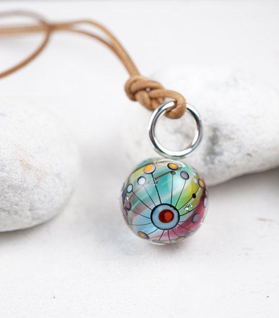 Hand Blown Glass Jewelry | Murano | Made in Leipzig |Rainbow Marble | By Melanie Moertel