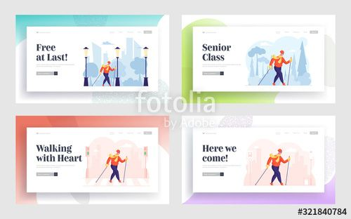 Female Pensioner Healthy Lifestyle Website Landing Page Set Happy Senior Woman Nordic Walking with Poles Aged Lady Engage Outdoors Sport Activity Web Page Banner Cartoon...