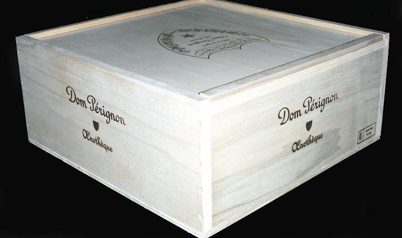 Rare Dom Perignon 3 Bottle Slide Top Wooden Wine Case
