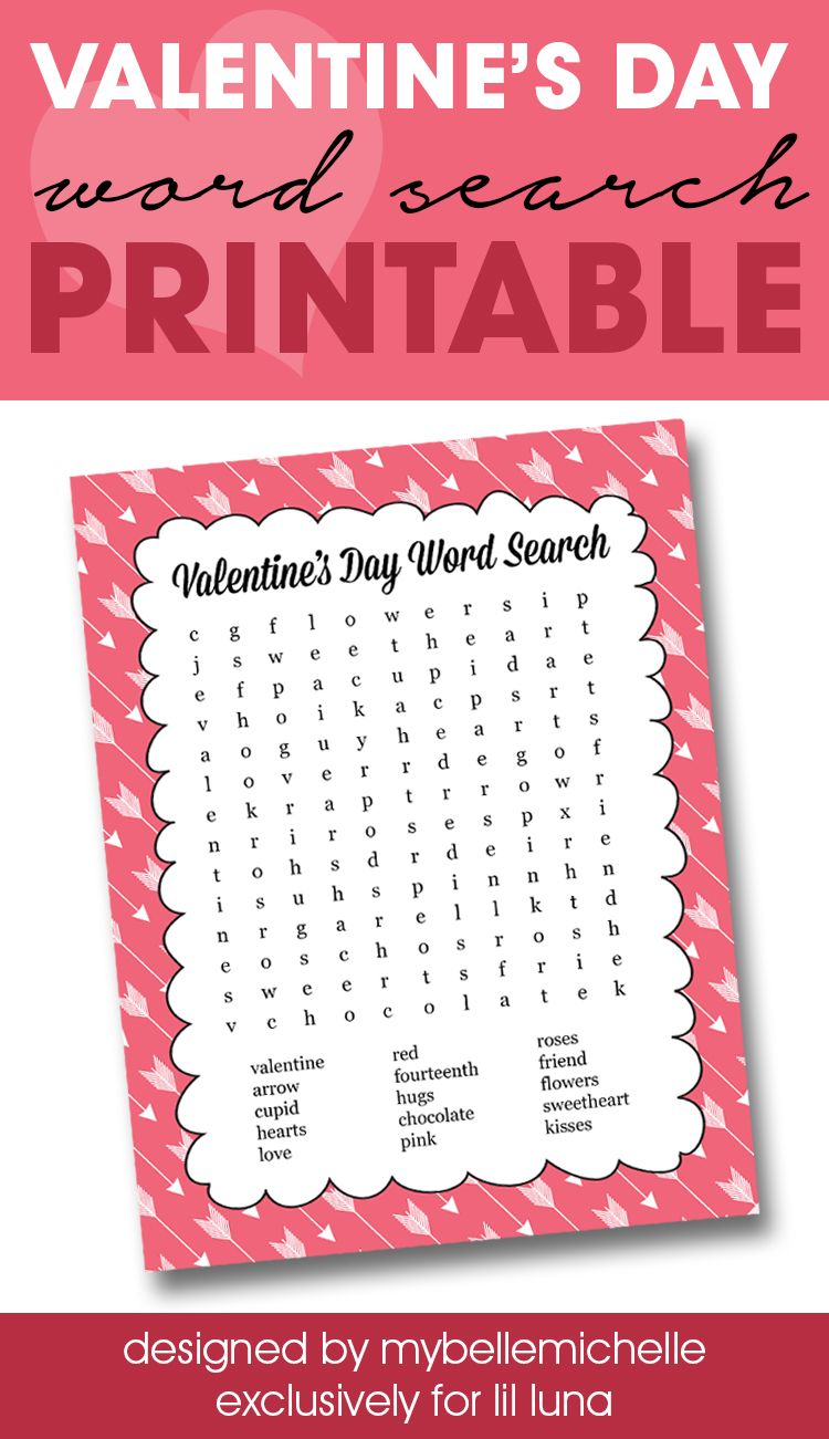 FREE Valentine\'s Word Search Printable - perfect for class parties ...