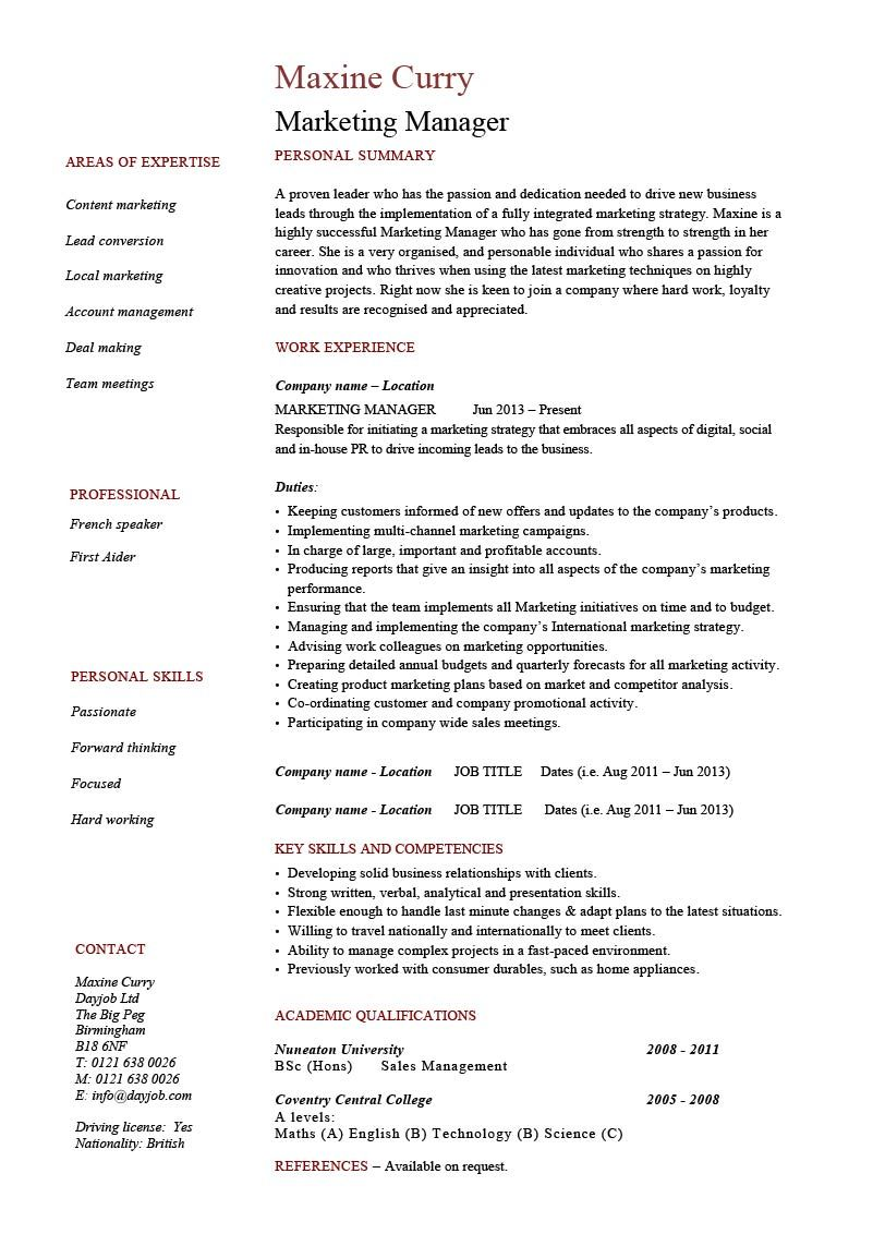 marketing manager resume example  cv template  skills