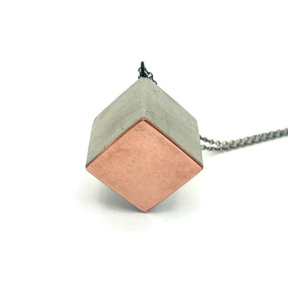Concrete and copper cube by ThorningAstrup on Etsy
