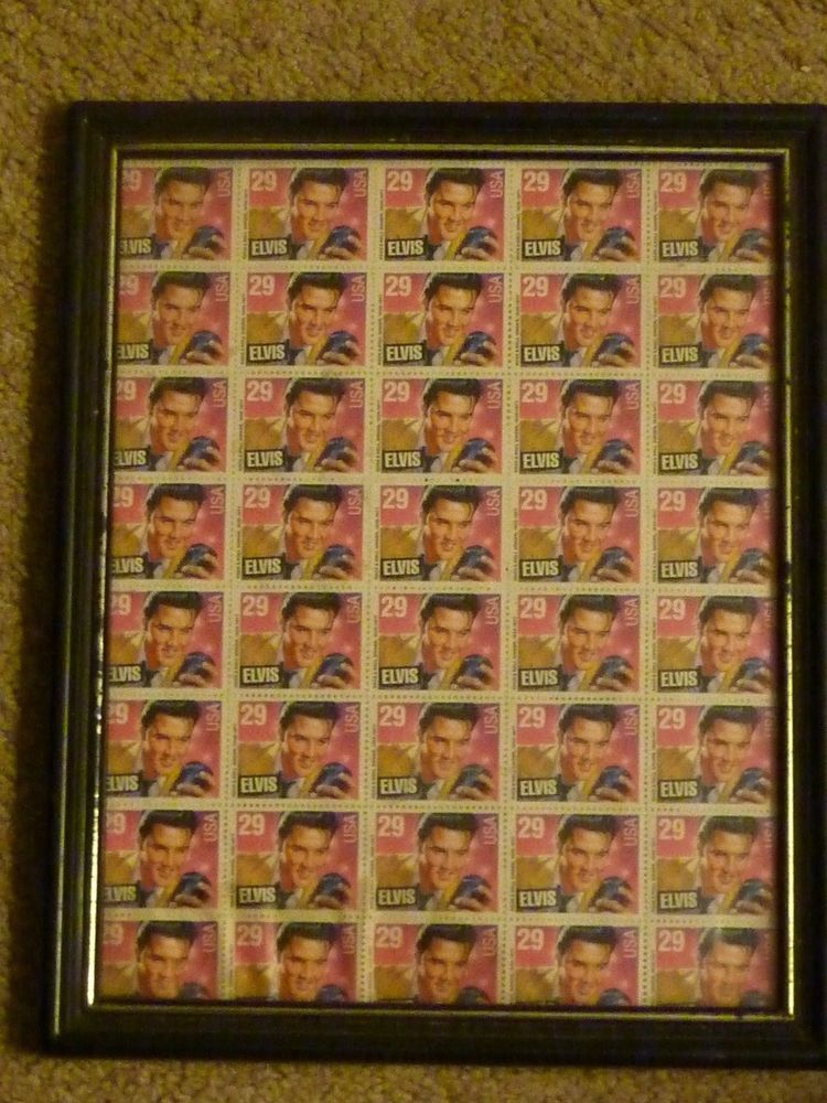 Elvis Presley USA Stamp Sheet 40 X 29 Cent Framed Attached To Backing Good Collectible Uncut Of Stamps Were Glued Down