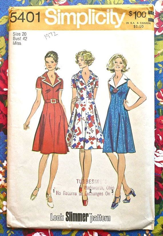 Simplicity 5401 Vintage 1970s Womens Dress Pattern by Fragolina, $4.00