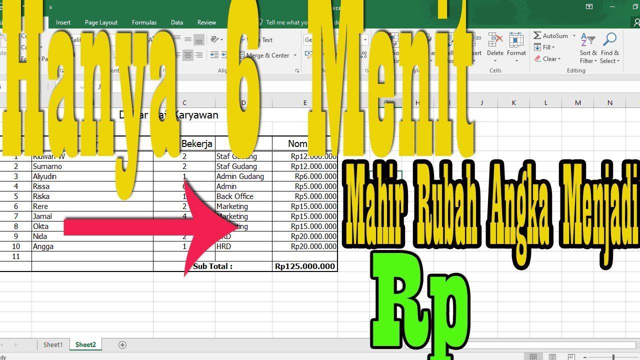 Cara Merubah Angka Menjadi Rupiah Di Excel Microsoft Menulis