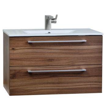 Caen 32 Wall Mount Modern Bathroom Vanity Set Walnut Optional