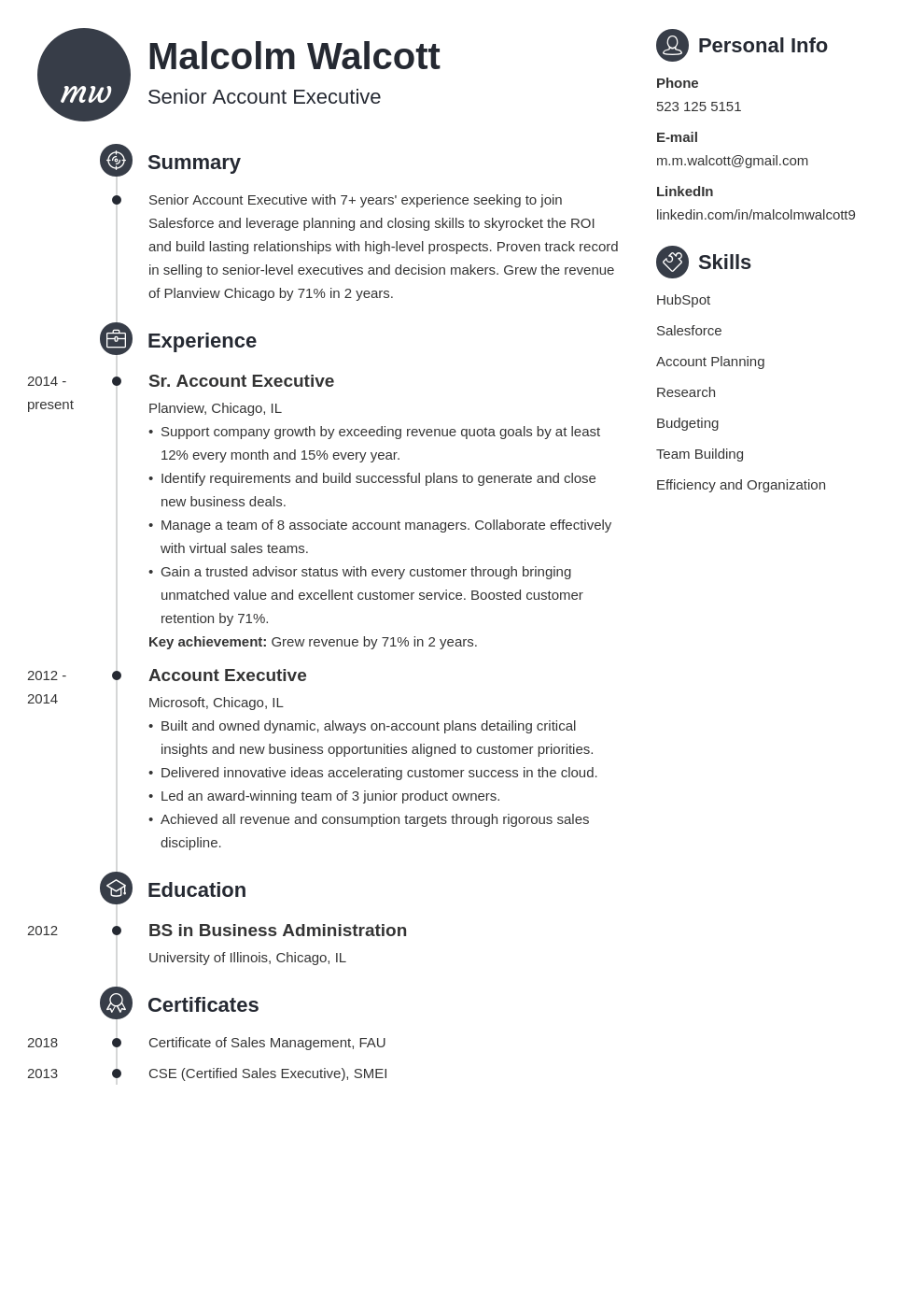 account executive resume example template primo in 2020