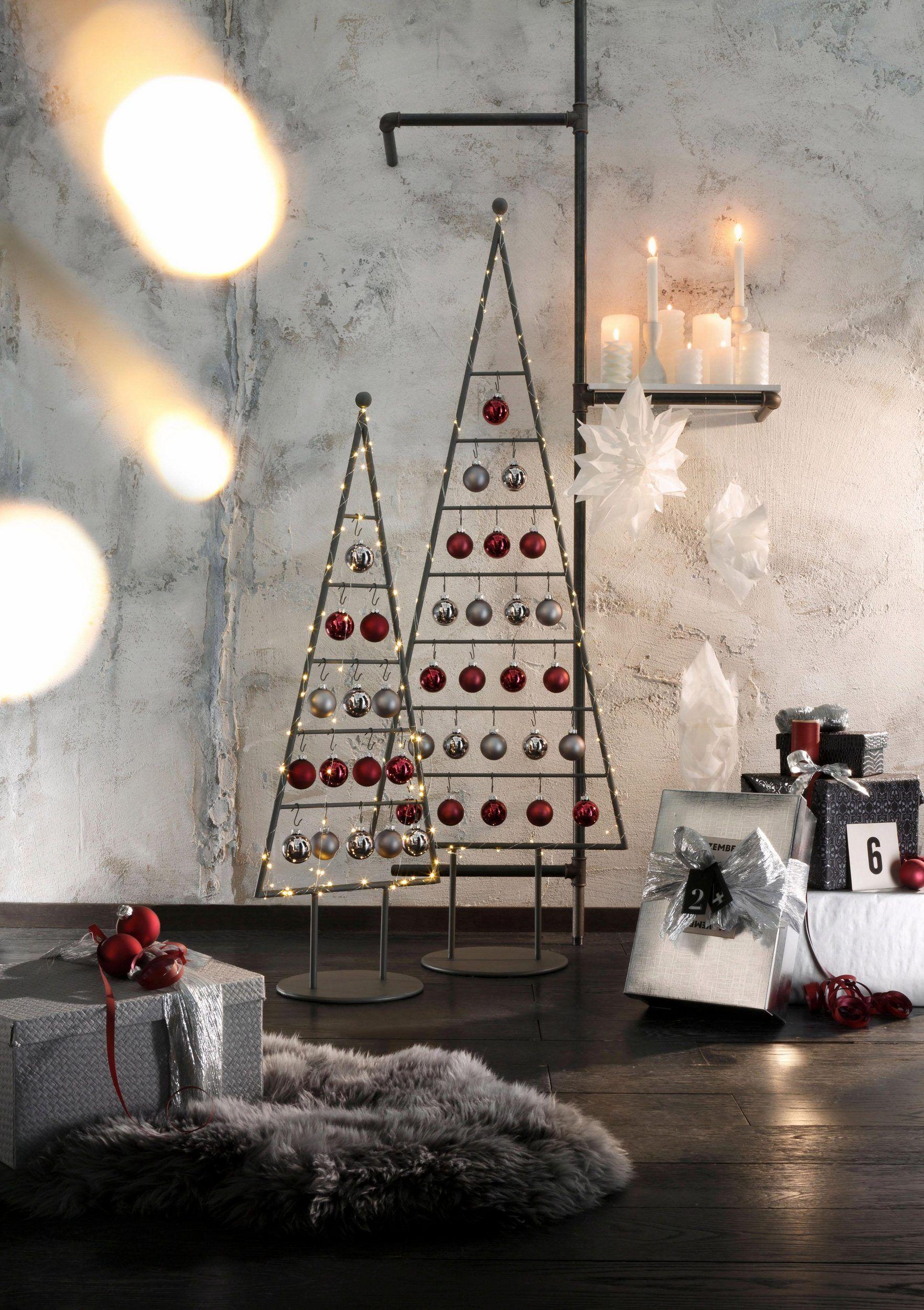 TRENDFARBE Tannenbaum Weihnachtsbaum 98cm Höhe Hochglanz Christbaum Tanne Metall