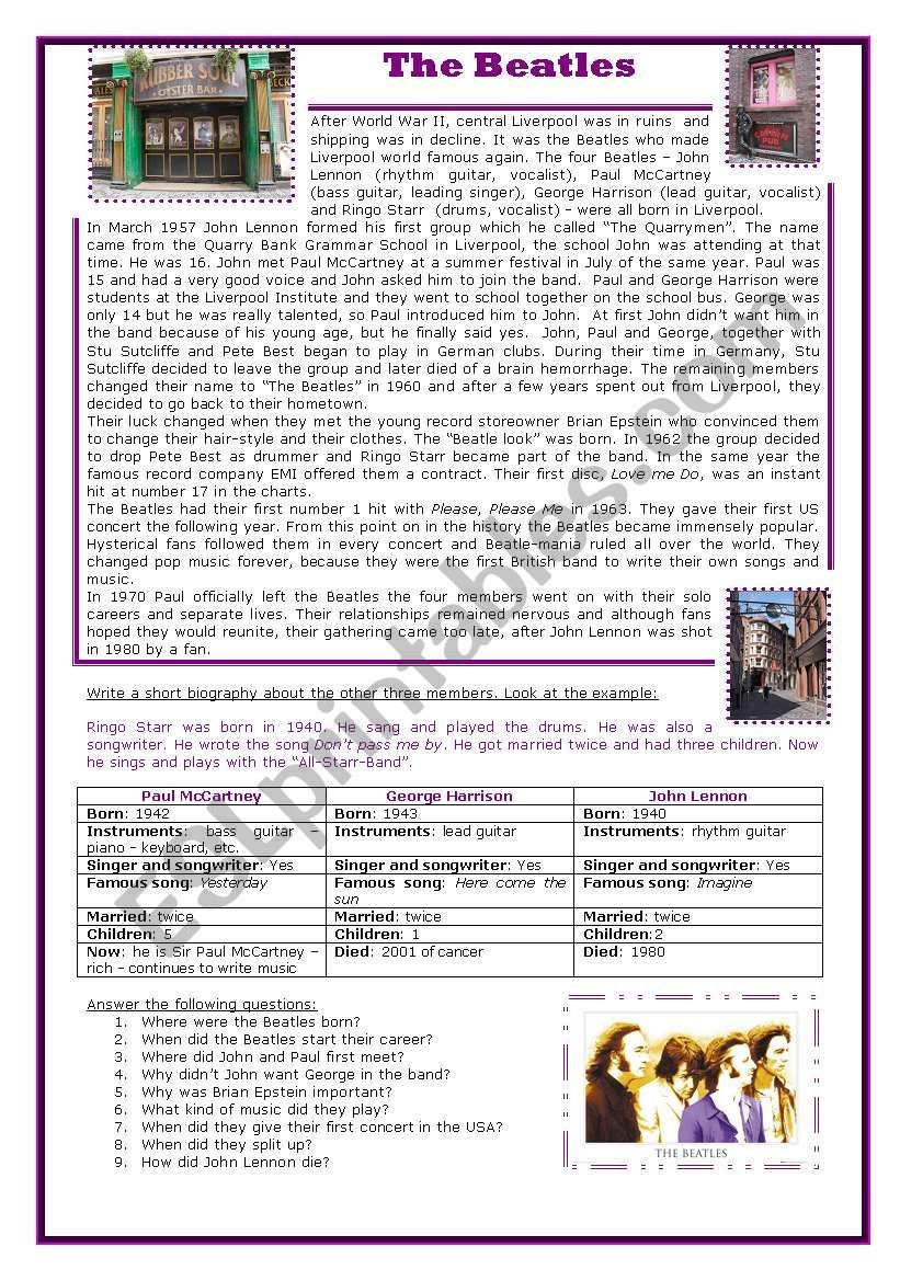 It S A Ws Containing A Reading Comprehension About The Beatles And A Short Guided Writing On Biogra The Beatles Reading Comprehension Worksheets Guided Writing [ 1169 x 821 Pixel ]