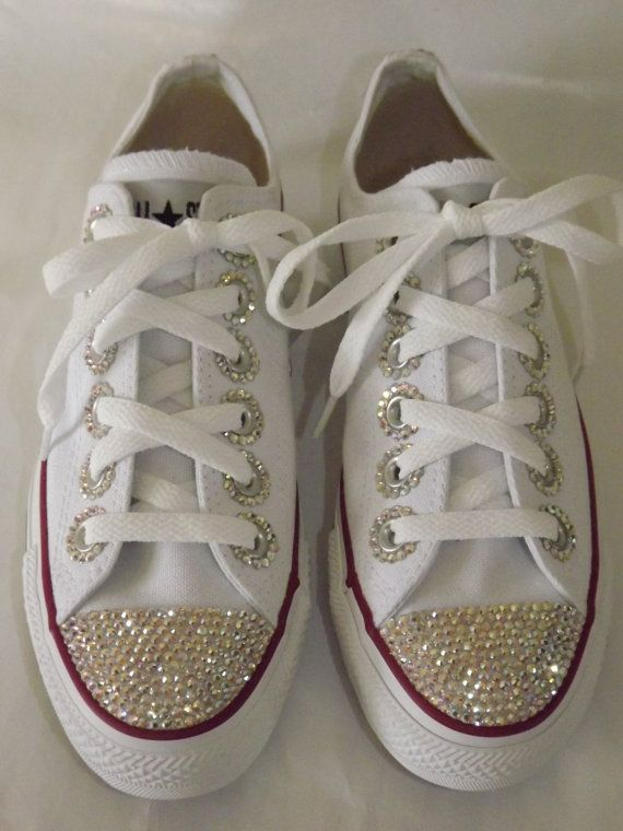 c9ebc0607bea5b Rhinestone Bling Custom Chuck Taylor All Star Sneakers Low Top on Etsy