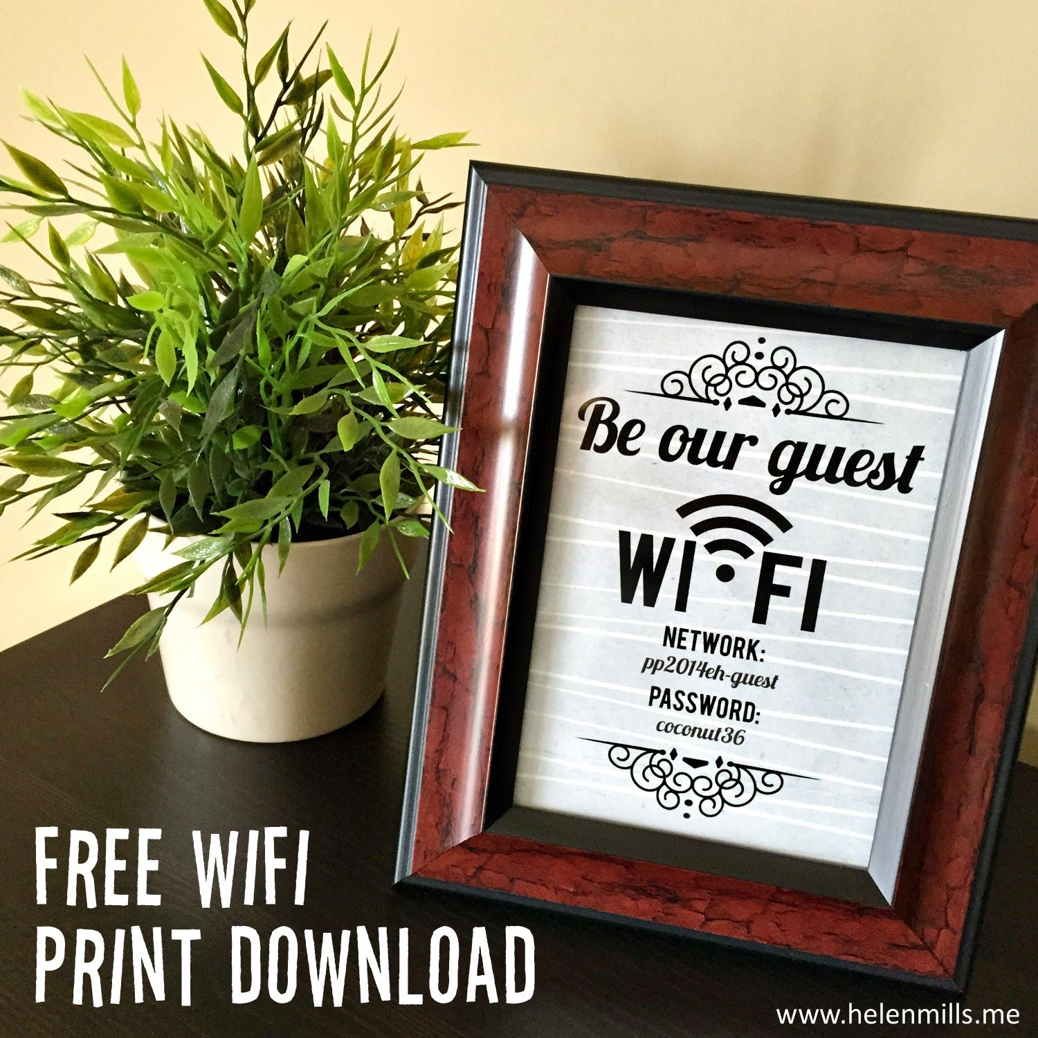 Guest Room Sign Decor: Free Guest Wifi Password Sign