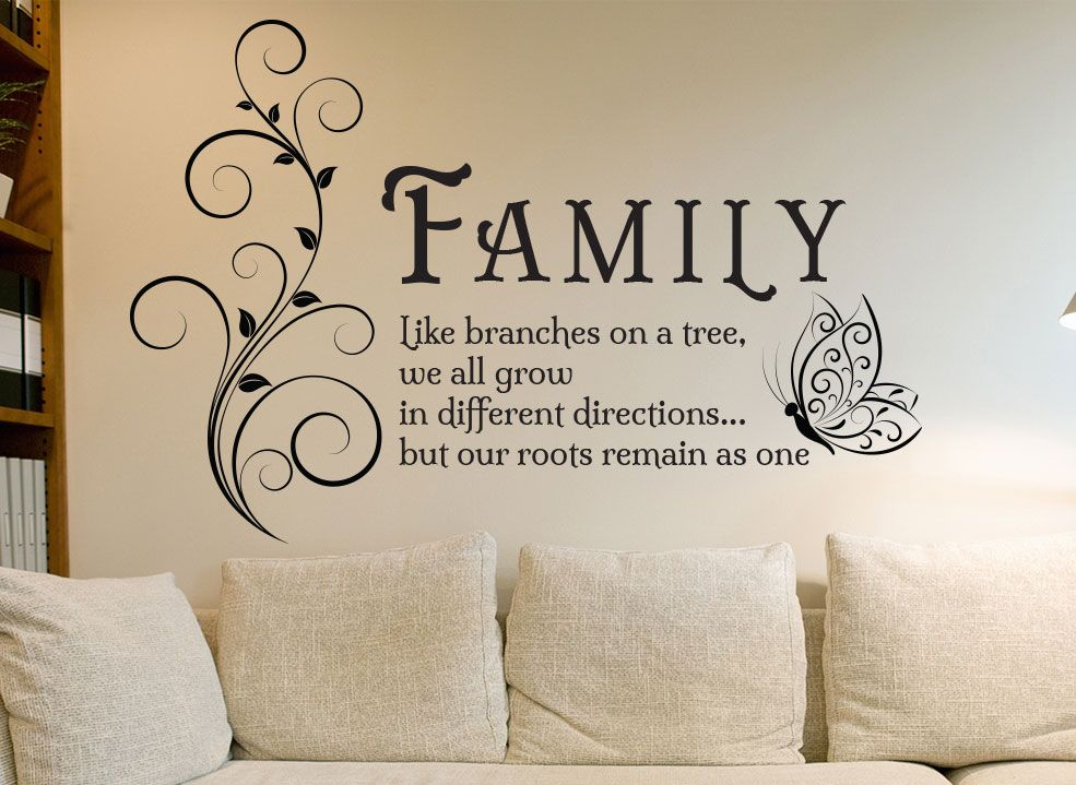 Family Tree Quote Wall Art Sticker Family Entrance Living Room Or