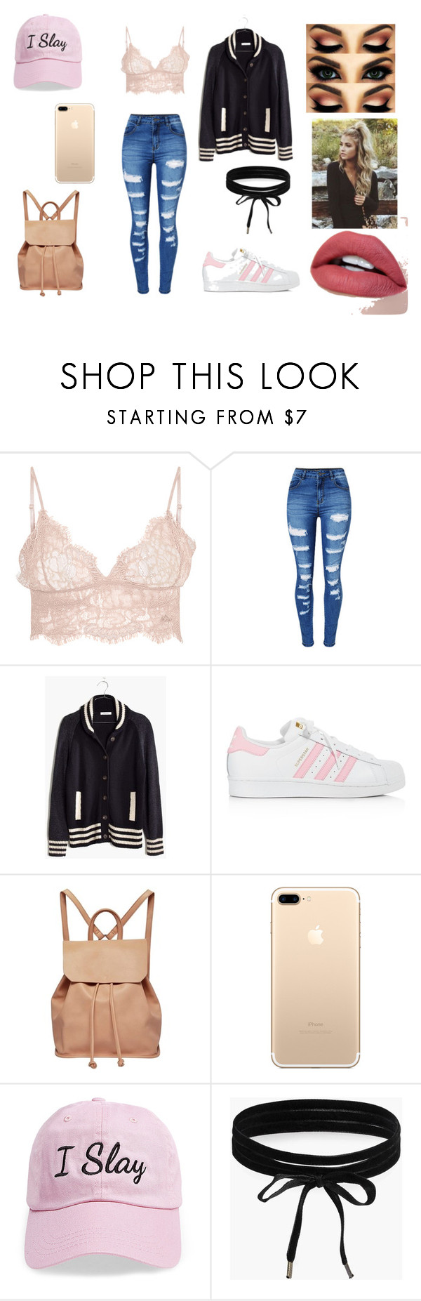 """""""I slay"""" by secret-marie ❤ liked on Polyvore featuring WithChic, Madewell, adidas, Urban Originals, Steve Madden and Boohoo"""
