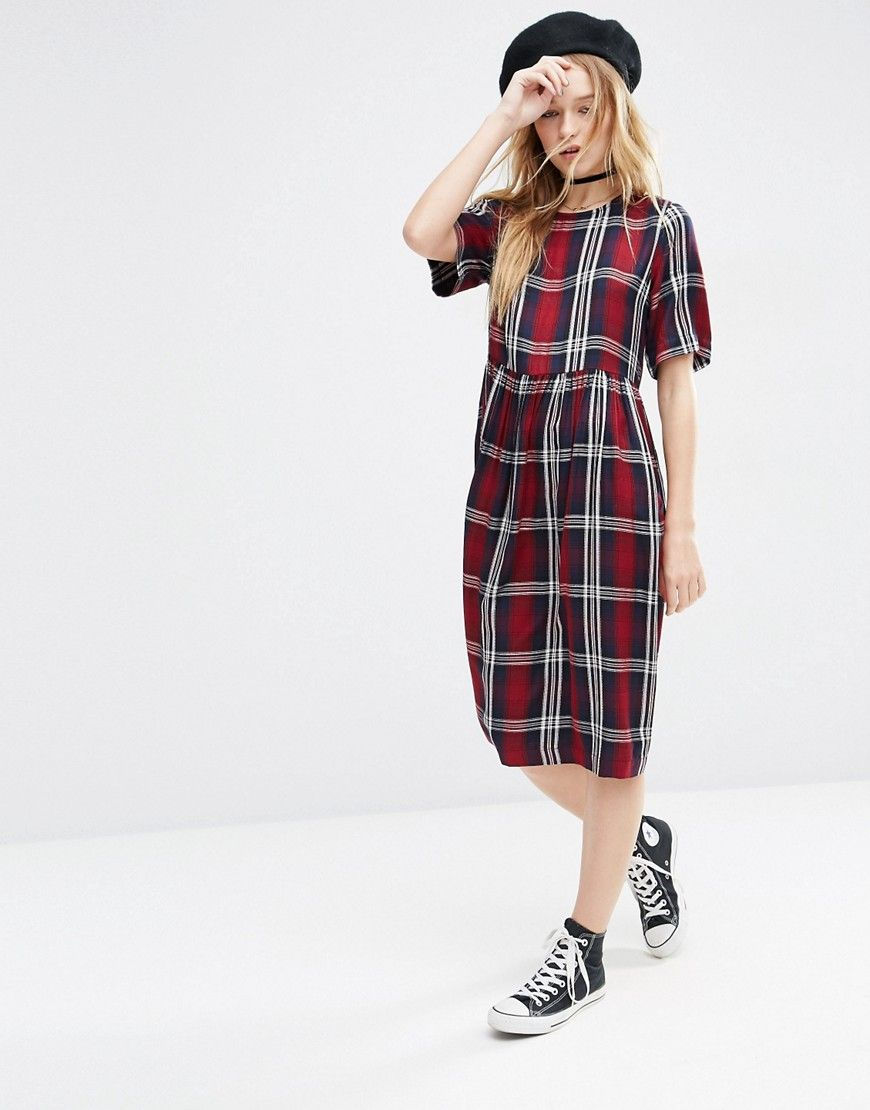 Image 1 of ASOS Short Sleeve Midi Smock Dress in Check | STYLE ...