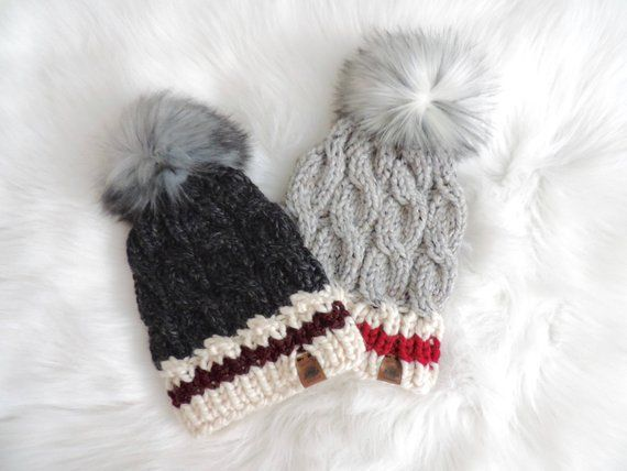 e0cd0e0fac1 Made to Order - Sock Monkey Cable Knit Hat with Faux Fur Pom Pom ...