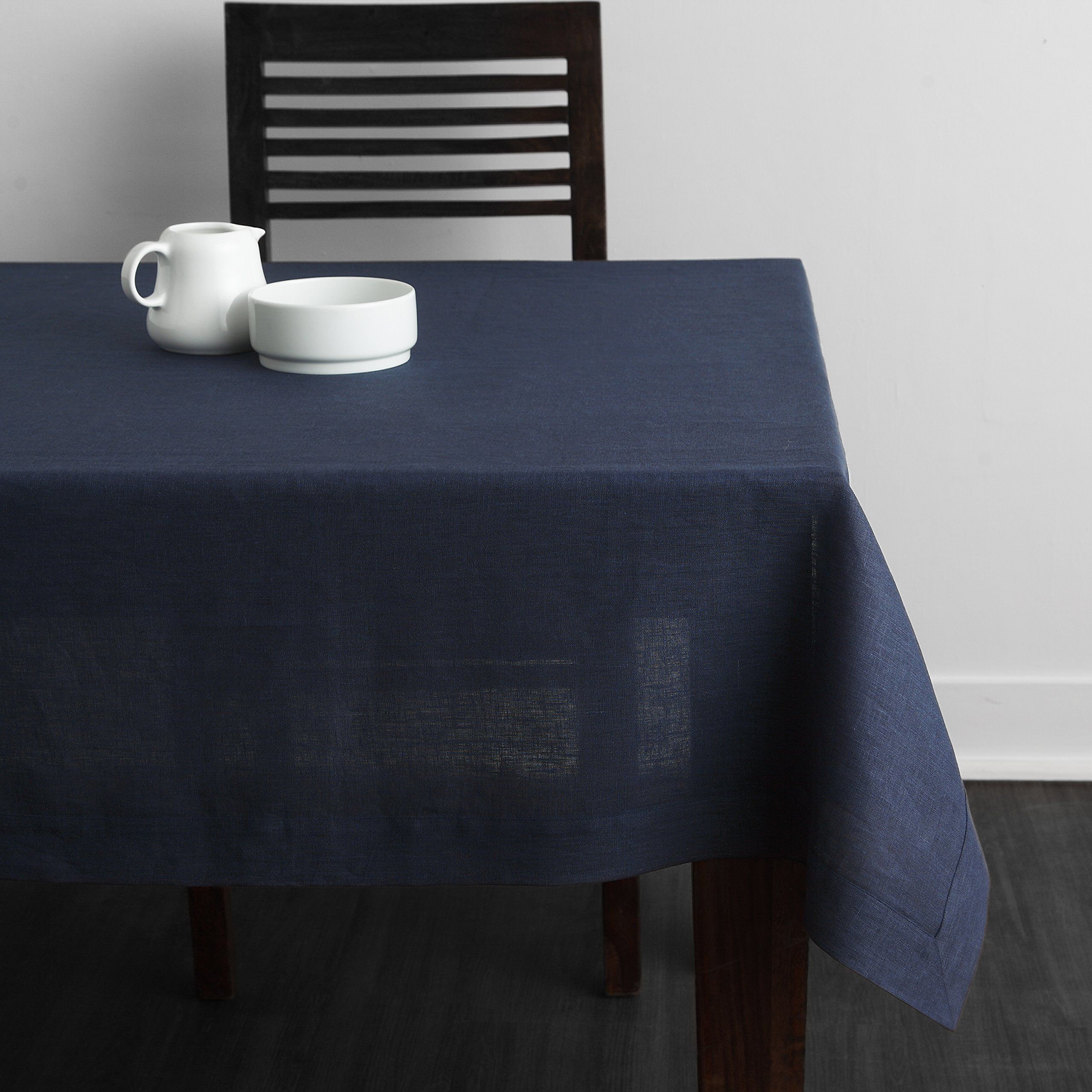 100% Pure Linen Plain Tablecloth Athena, Natural Rectangular Table Cloth  For Indoor And Outdoor