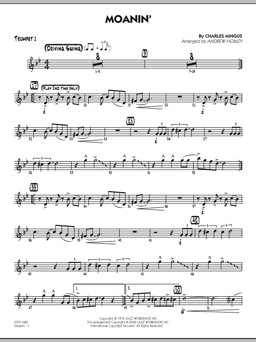 Andrew Homzy Moanin Trumpet 1 Sheet Music Notes Chords Score Download Printable Pdf Jazz Sheet Music Sheet Music Notes Sheet Music