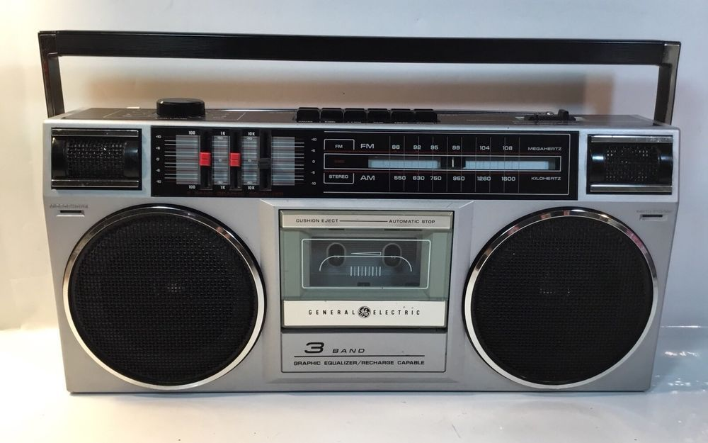 Vintage General Electric Ge 3 5455 Am Fm Radio Cassette Recorder Stereo Boombox Ge Boombox Ghetto Blaster Cassette