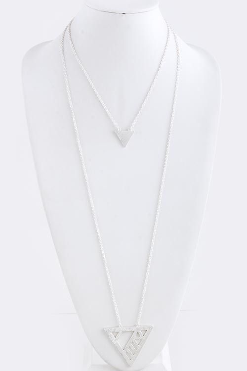 {Clean Cut Out Triangle Pendant Necklace}