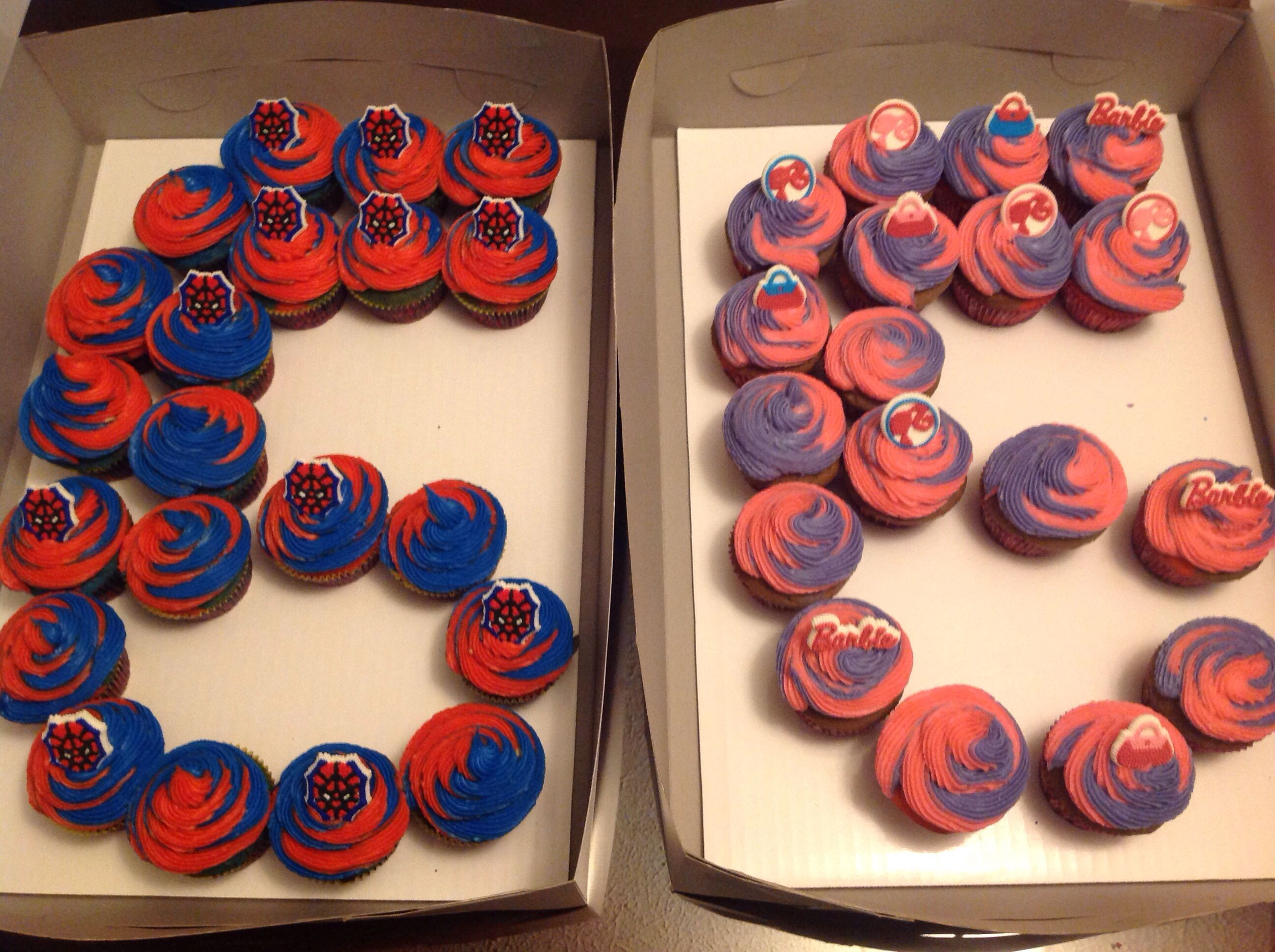 6 year old boygirl twin birthday cupcakes Barbie and SpiderMan