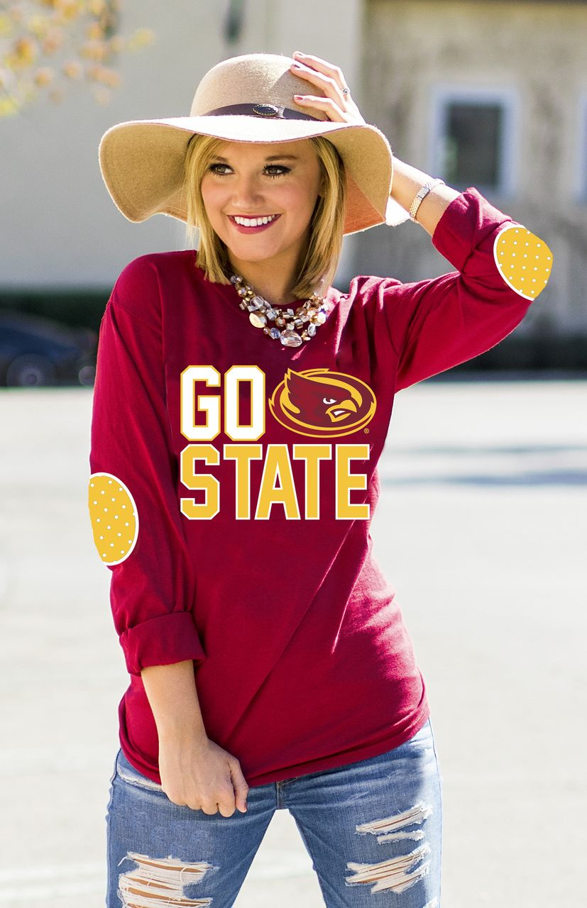 Iowa state fan for life elbow patch tee gameday