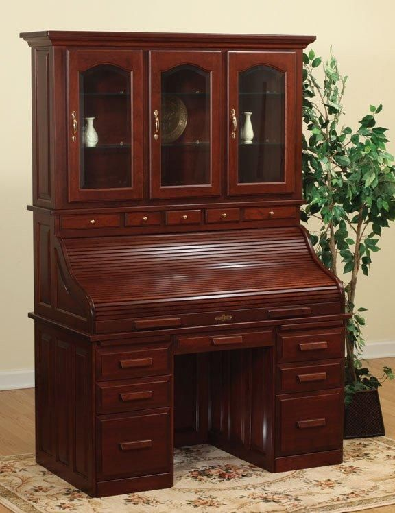 Amish Roll Top Desk with Hutch Top - Amish Roll Top Desk With Hutch Top Desks, Antique Desk And Antique