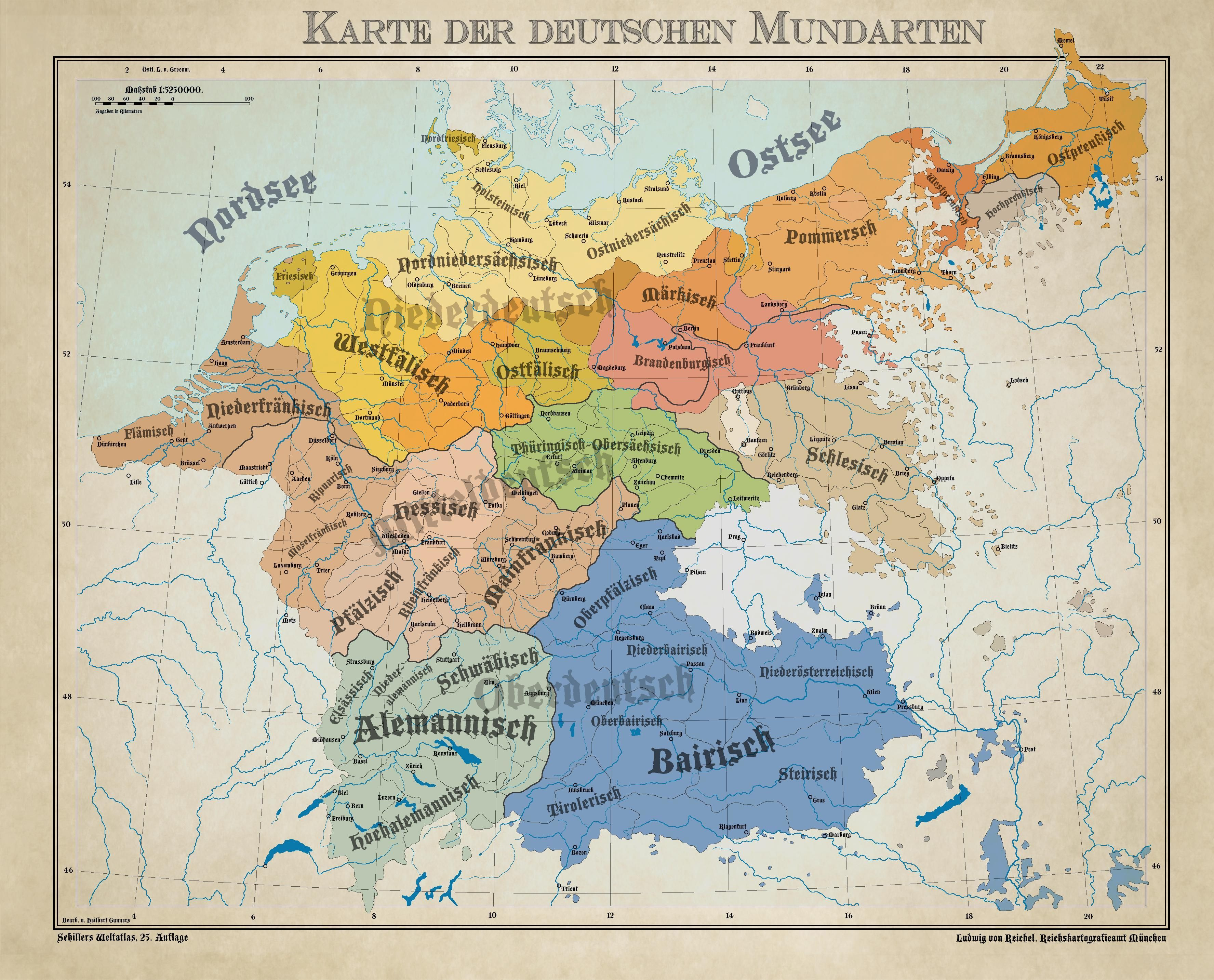 Historical Map Of Germany 1900.Dialects From The German Language Area 1900 Mapmania