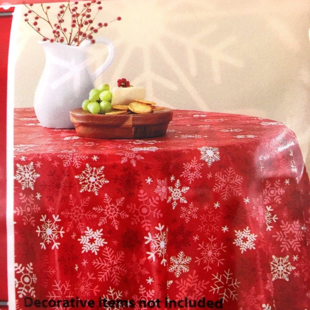 Christmas Snowflakes Vinyl Tablecloth Round 70 In Red White Holiday Time Holidaytime Vinyl Tablecloth Table Cloth Holiday Time