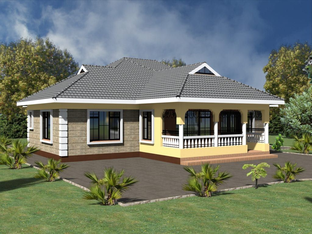 Simple 3 Bedroom House Plans Without Garage 4 House Designs In Kenya Modern Bungalow House Four Bedroom House Plans