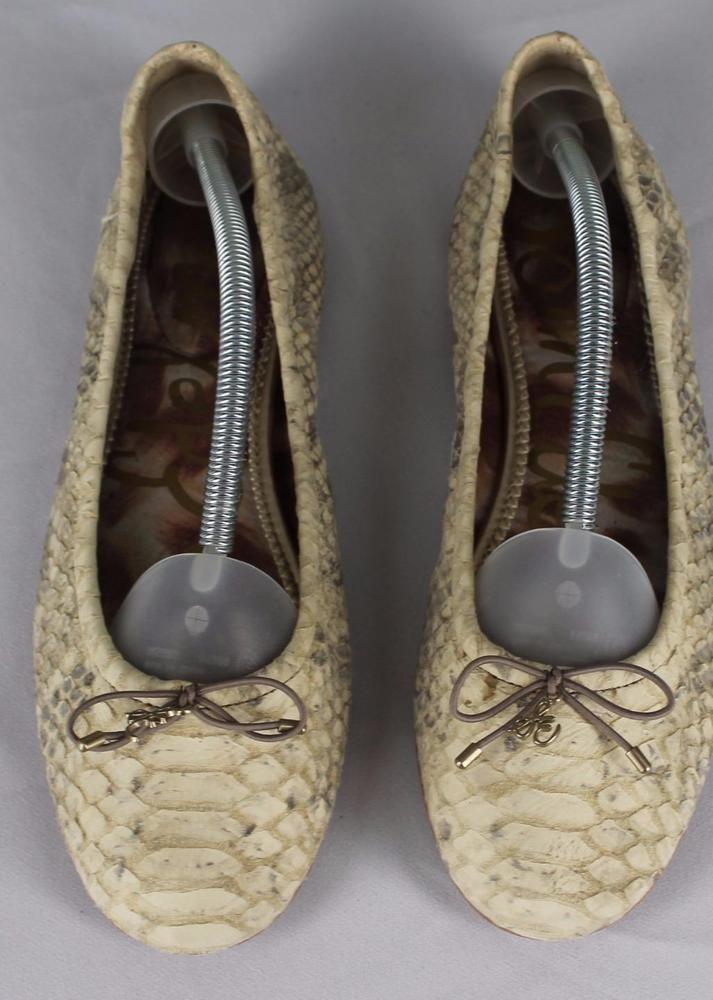 8f677aa54e4e6 Sam Edelman Felicia Snakeskin Print Leather Ballet Flat Shoes 9.5 Beige  Taupe  SamEdelman  BalletFlats