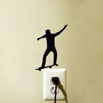 Skateboarder Light Switch Fabric Sticker - Skateboarding Vinyl Wall ...