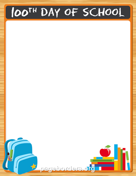 Printable 100th Day of School Border. Use the border in Microsoft Word or other programs for creating flyers, invitations, and other printables. Free GIF, JPG, PDF, and PNG downloads at http://pageborders.org/download/100th-day-of-school-border/
