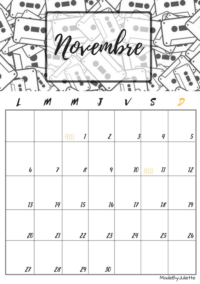 calendrier novembre 2017 imprimes le calendrier pour. Black Bedroom Furniture Sets. Home Design Ideas