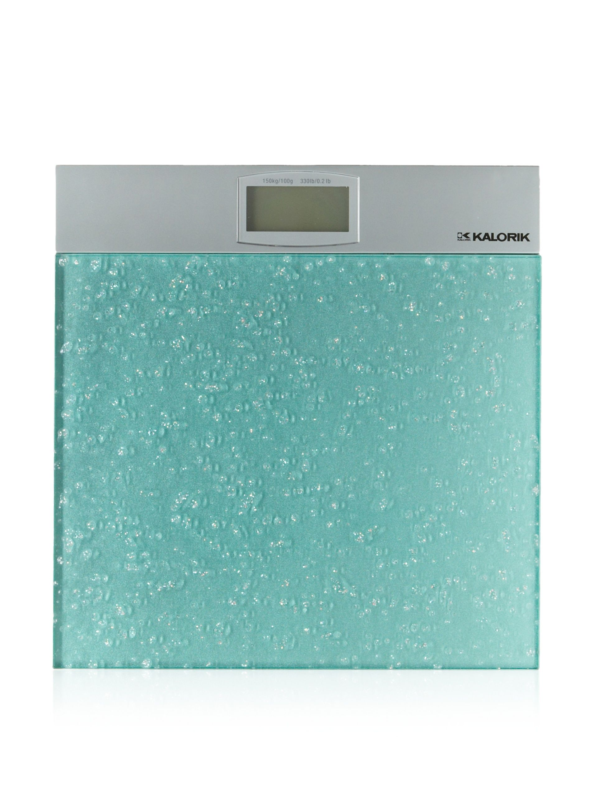Kalorik Electronic Bathroom Scale Aqua Silver 8mm Safety Gl Auto On And Shut Off Easy To Read 1 25